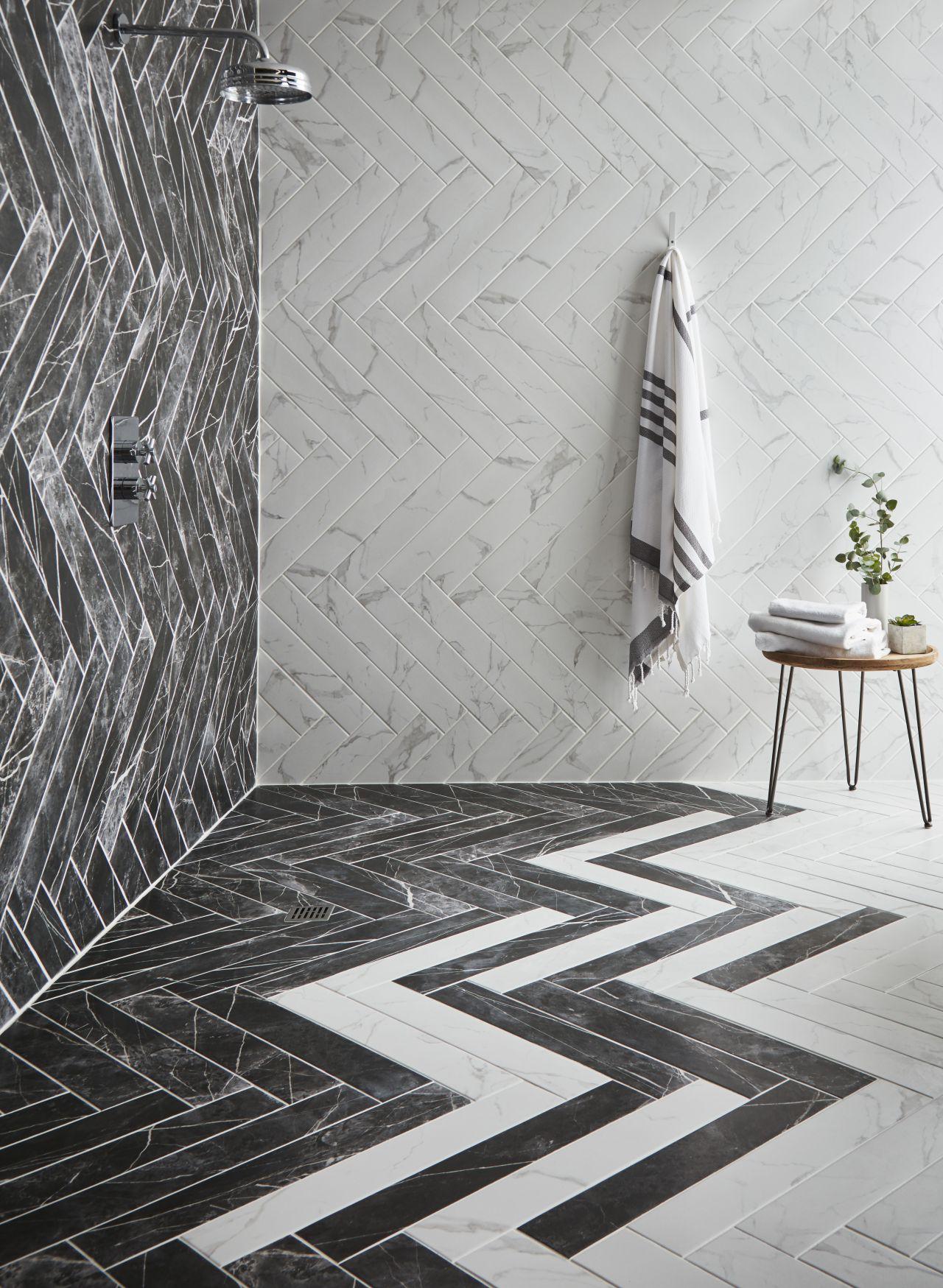 Siyah beyaz Banyo Tasarımı Fikirleri